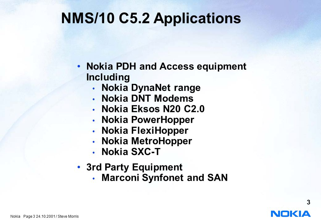 NMS/10 C5.2 Applications Nokia PDH and Access equipment Including