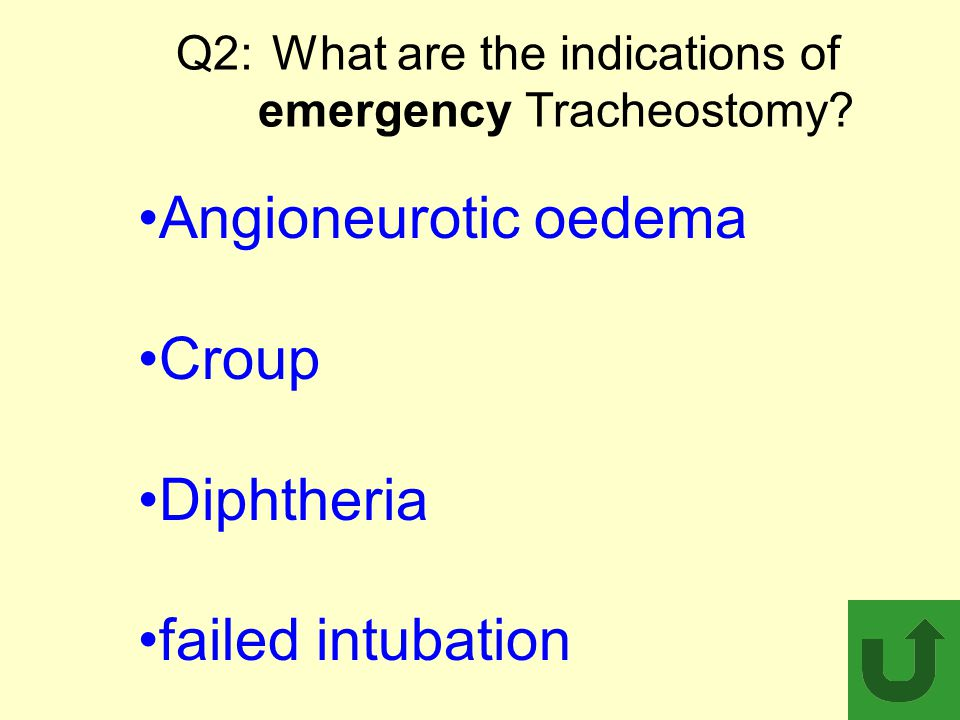 Q2: What are the indications of emergency Tracheostomy