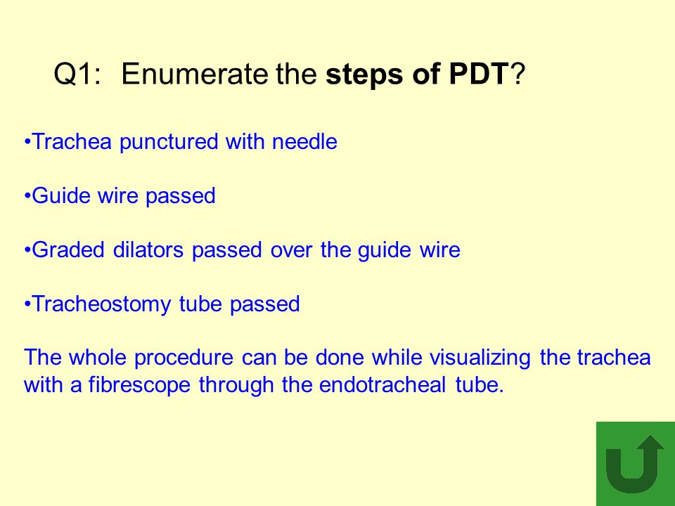 Q1: Enumerate the steps of PDT
