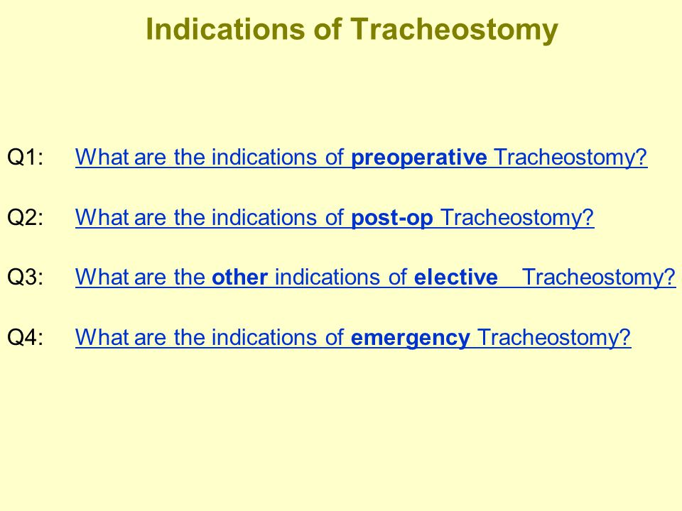 Indications of Tracheostomy