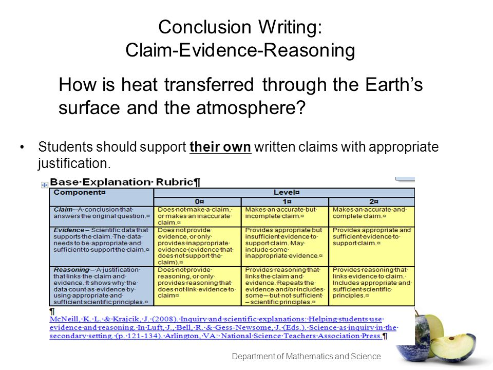 Conclusion Writing: Claim-Evidence-Reasoning