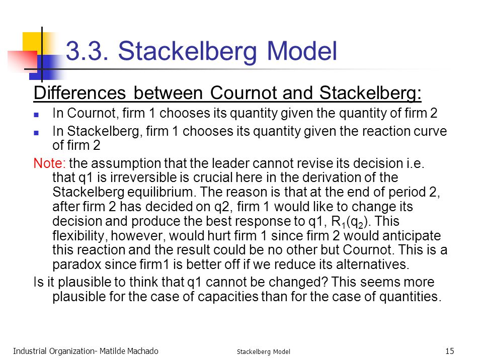 3.3. Stackelberg Model Differences between Cournot and Stackelberg: