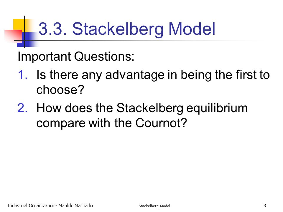 3.3. Stackelberg Model Important Questions:
