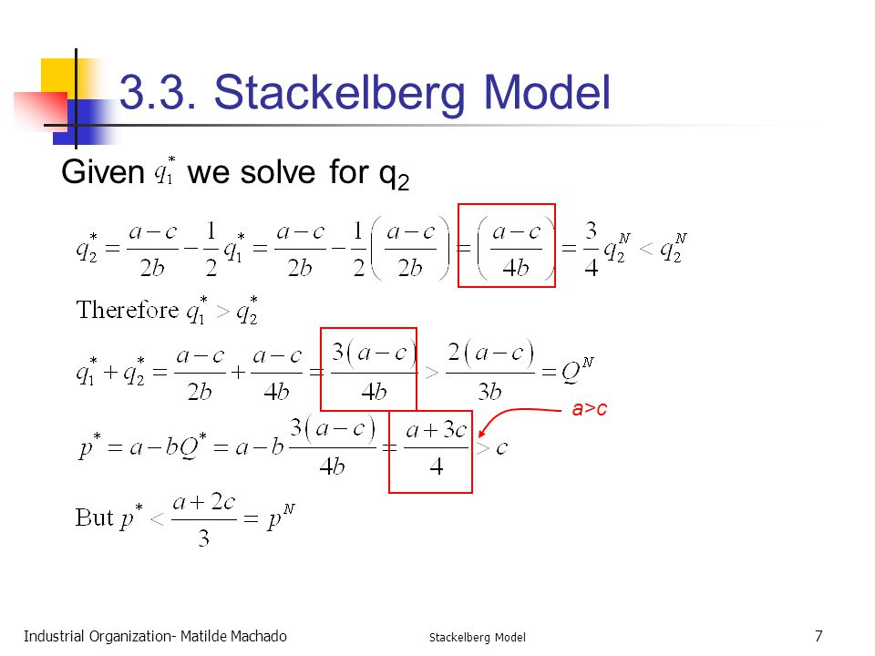 3.3. Stackelberg Model Given we solve for q2 a>c