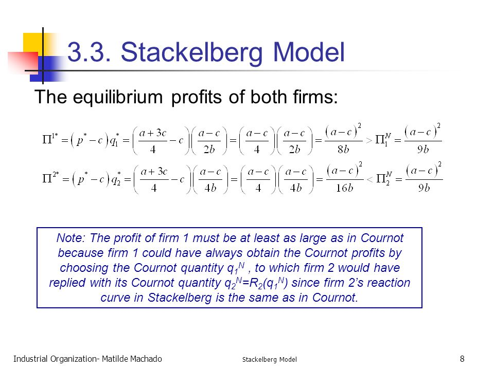 3.3. Stackelberg Model The equilibrium profits of both firms: