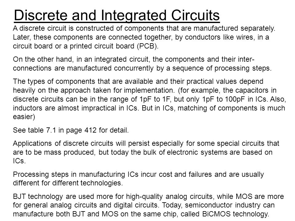 Discrete and Integrated Circuits