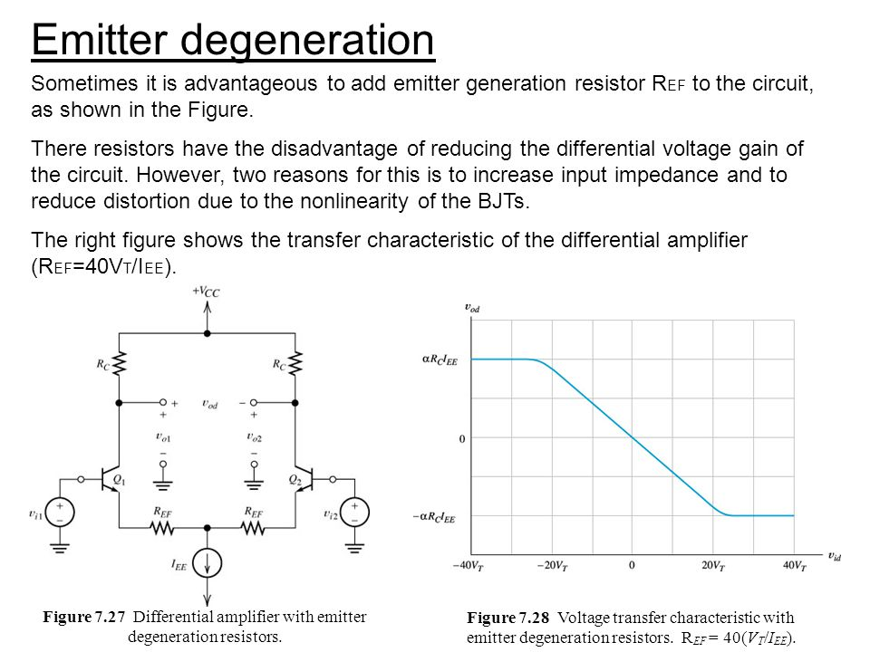 Emitter degeneration Sometimes it is advantageous to add emitter generation resistor REF to the circuit, as shown in the Figure.