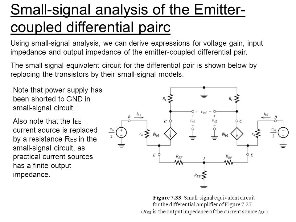 Small-signal analysis of the Emitter-coupled differential pairc