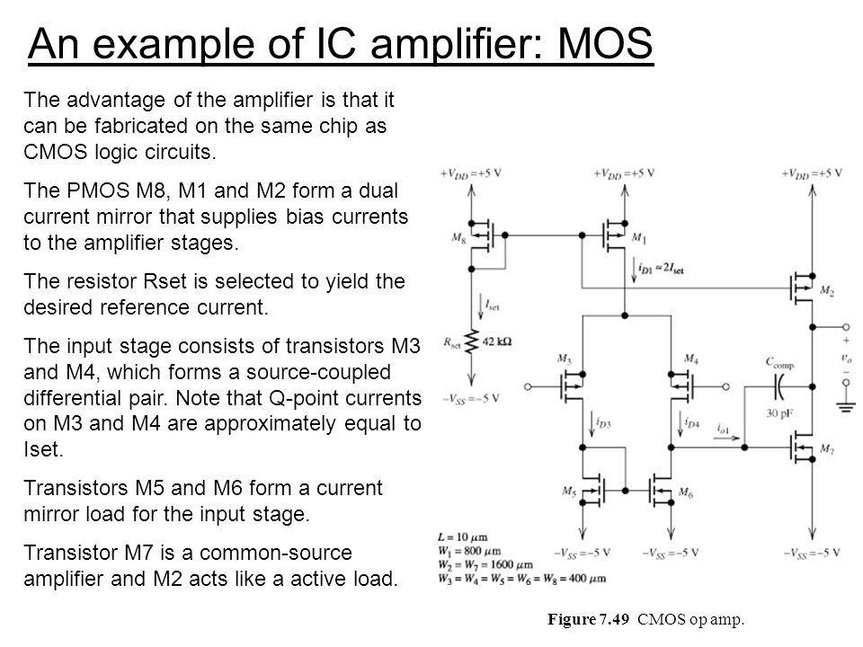 An example of IC amplifier: MOS
