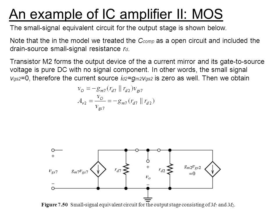An example of IC amplifier II: MOS