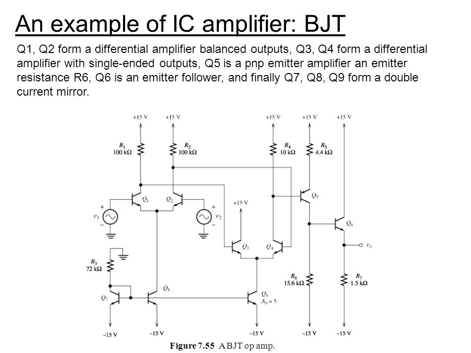 An example of IC amplifier: BJT
