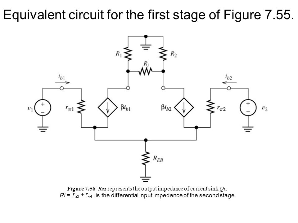 Equivalent circuit for the first stage of Figure 7.55.