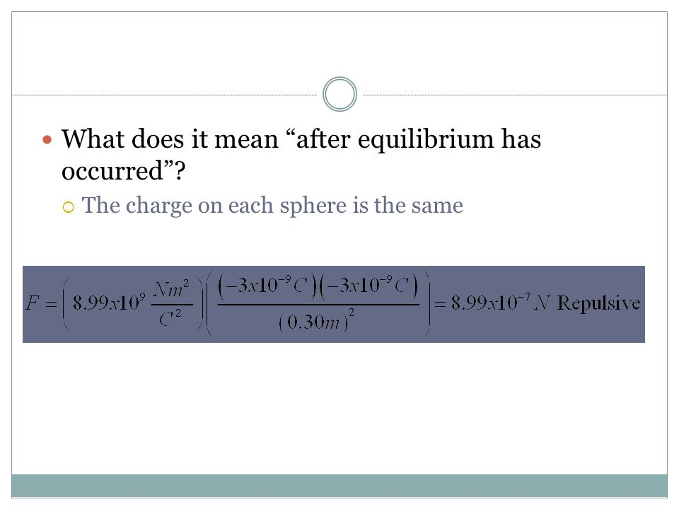 What does it mean after equilibrium has occurred