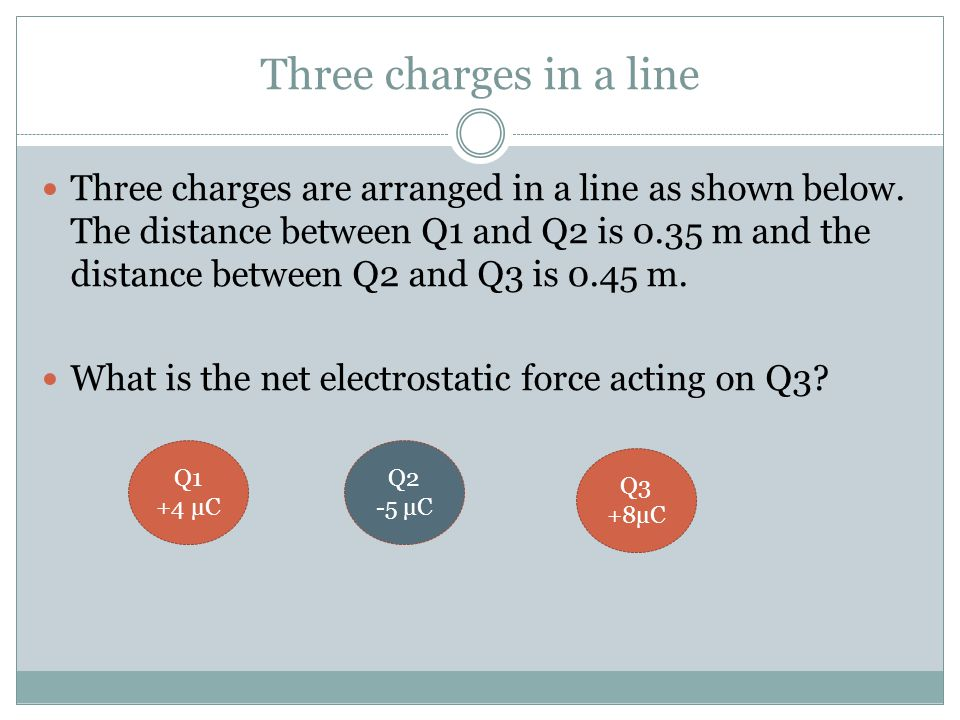 Three charges in a line
