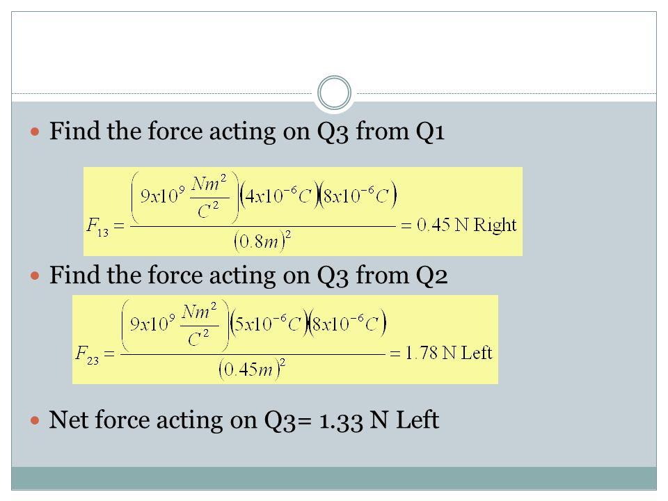 Find the force acting on Q3 from Q1