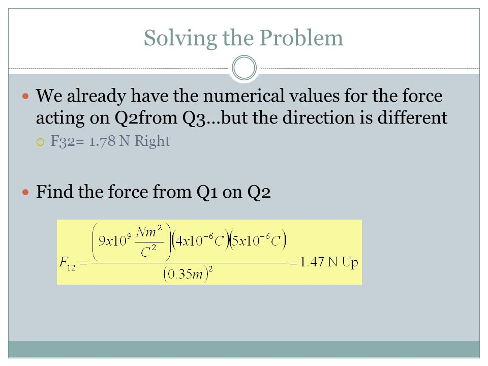 Solving the Problem We already have the numerical values for the force acting on Q2from Q3…but the direction is different.