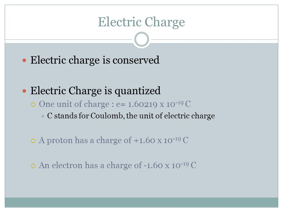 Electric Charge Electric charge is conserved