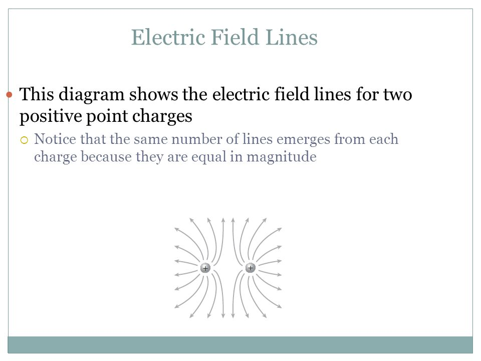 Electric Field Lines This diagram shows the electric field lines for two positive point charges.