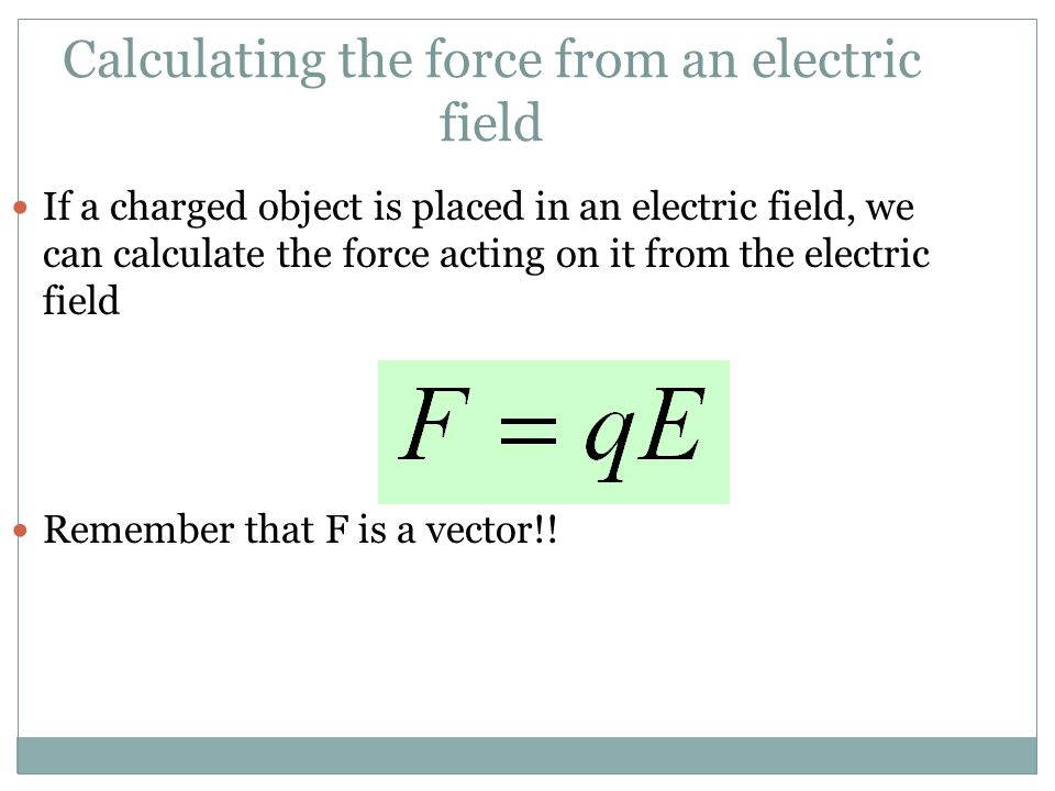 Calculating the force from an electric field