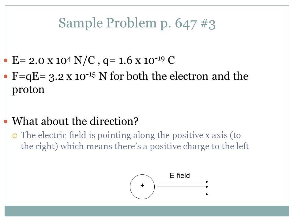 Sample Problem p. 647 #3 E= 2.0 x 104 N/C , q= 1.6 x 10-19 C