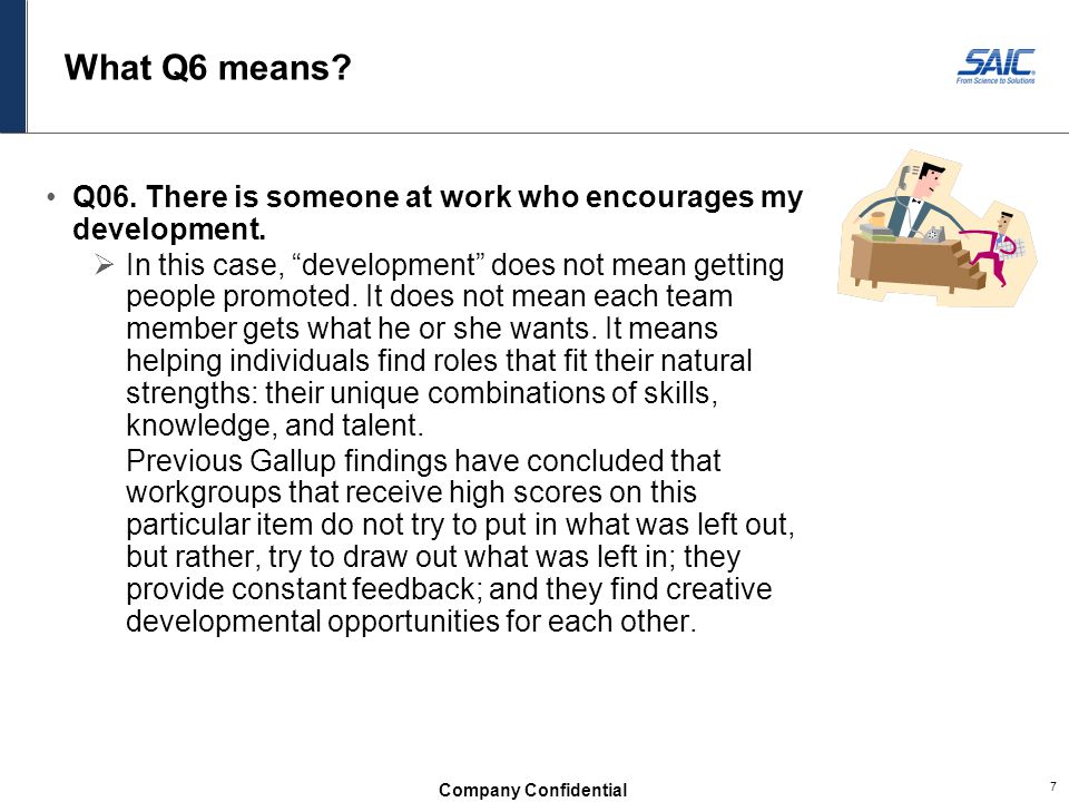 What Q6 means Q06. There is someone at work who encourages my development.