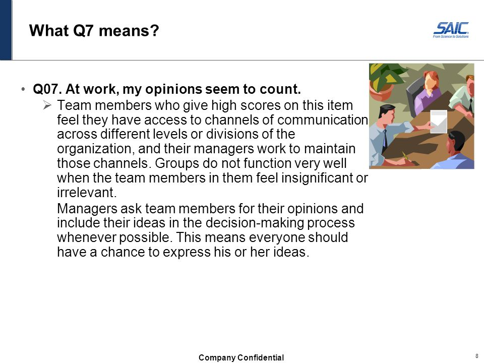 What Q7 means Q07. At work, my opinions seem to count.