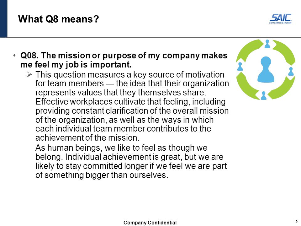 What Q8 means Q08. The mission or purpose of my company makes me feel my job is important.