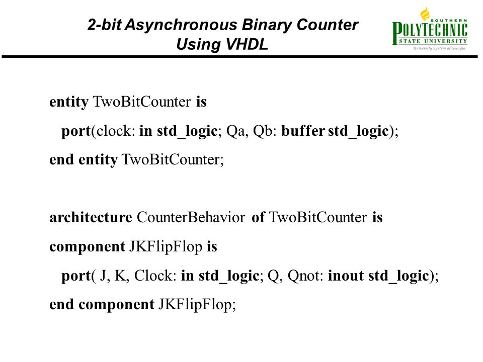 2-bit Asynchronous Binary Counter Using VHDL