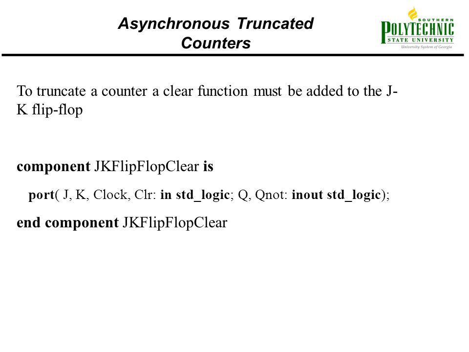 Asynchronous Truncated Counters
