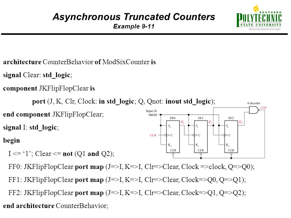 Asynchronous Truncated Counters Example 9-11