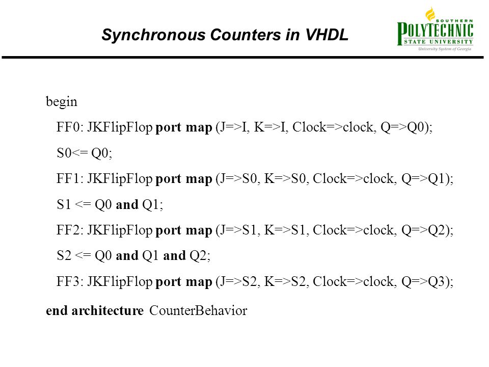 Synchronous Counters in VHDL