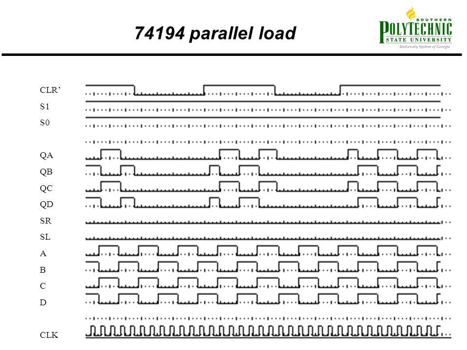 74194 parallel load CLR' S1 S0 QA QB QC QD SR SL A B C D CLK