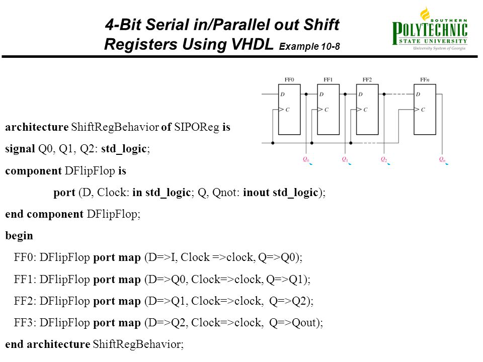 4-Bit Serial in/Parallel out Shift Registers Using VHDL Example 10-8