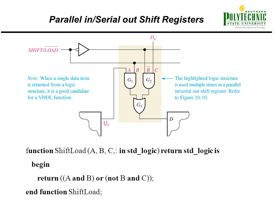 Parallel in/Serial out Shift Registers