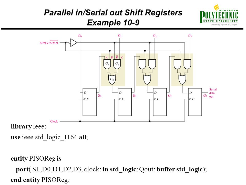 Parallel in/Serial out Shift Registers Example 10-9