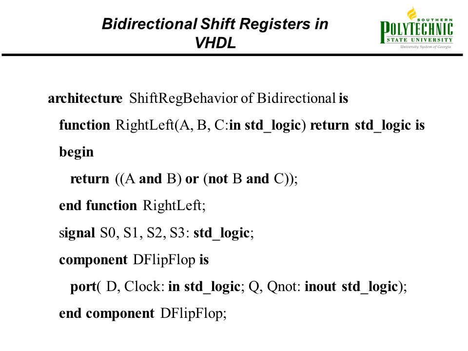 Bidirectional Shift Registers in VHDL