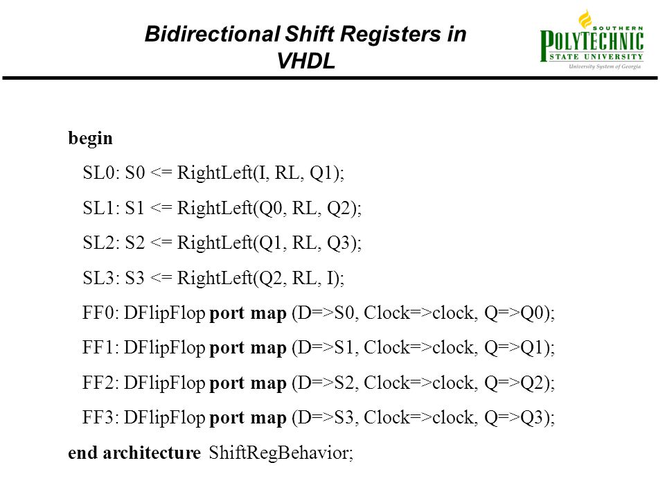 Bidirectional Shift Registers in VHDL
