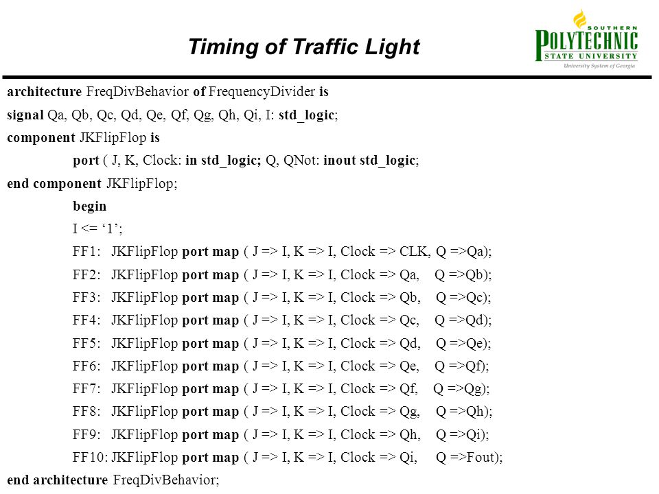 Timing of Traffic Light