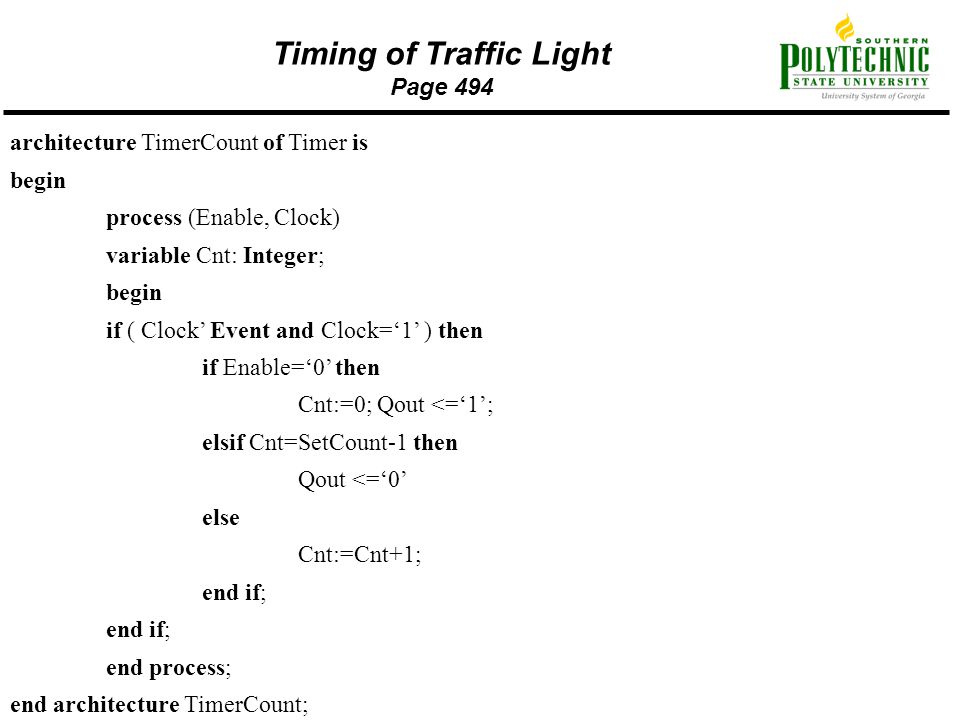 Timing of Traffic Light Page 494