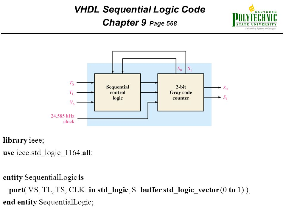 VHDL Sequential Logic Code Chapter 9 Page 568