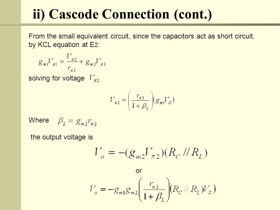 ii) Cascode Connection (cont.)