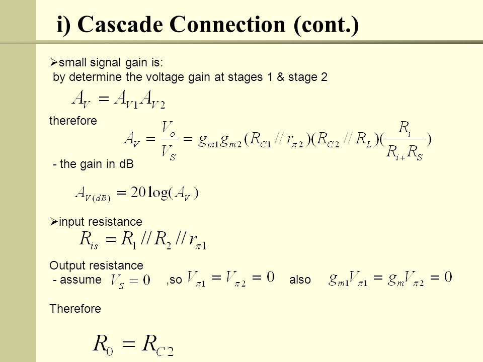 i) Cascade Connection (cont.)