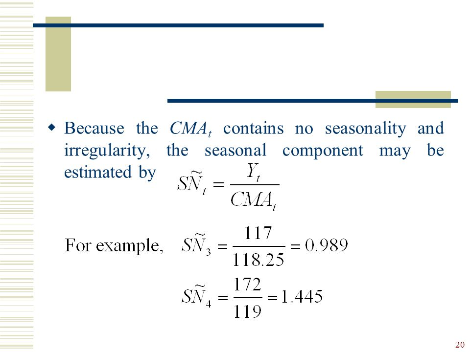 Because the CMAt contains no seasonality and irregularity, the seasonal component may be estimated by