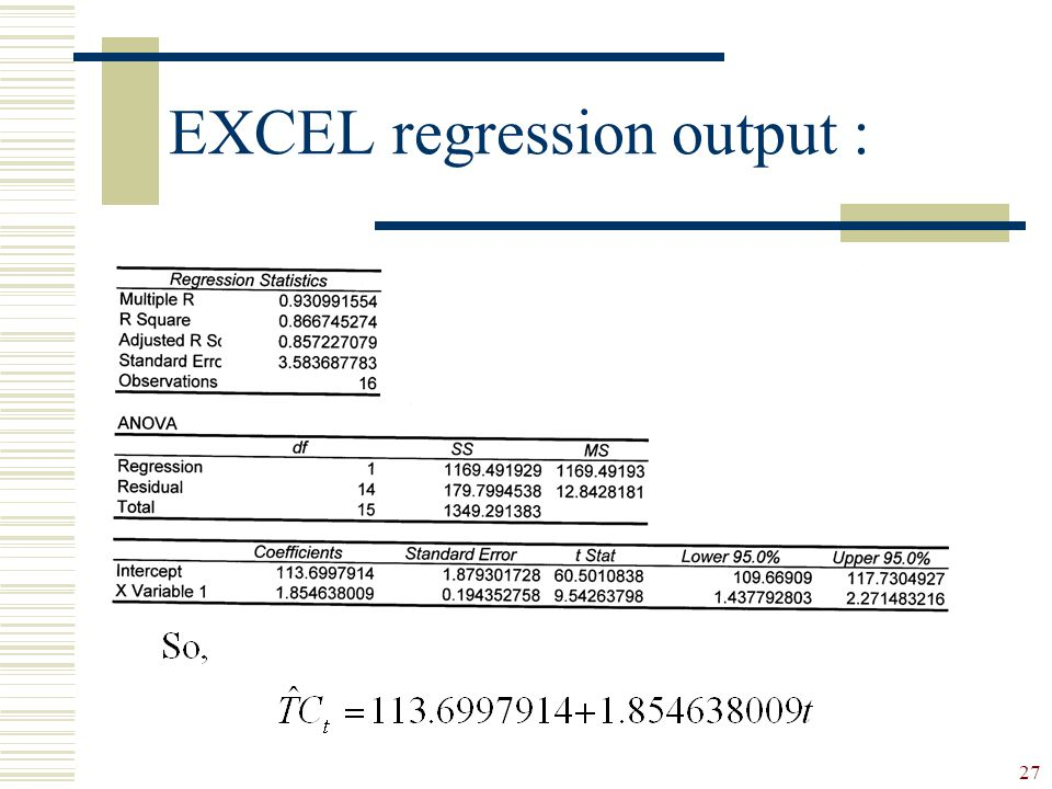 EXCEL regression output :