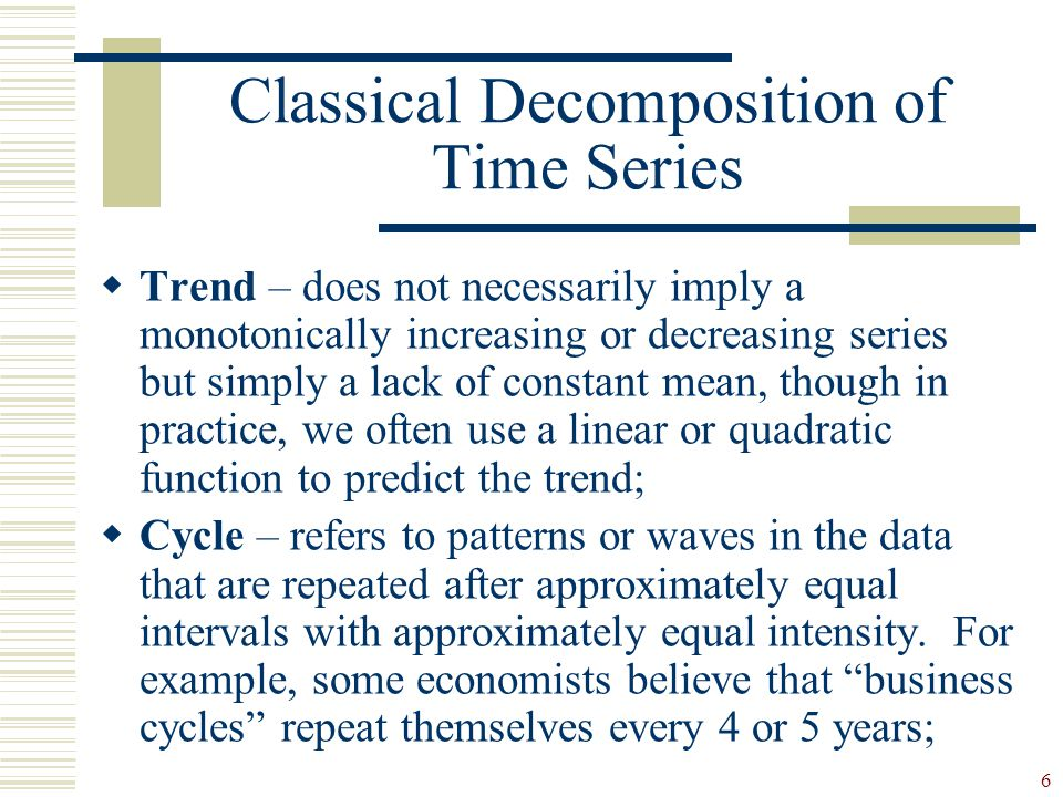 Classical Decomposition of Time Series