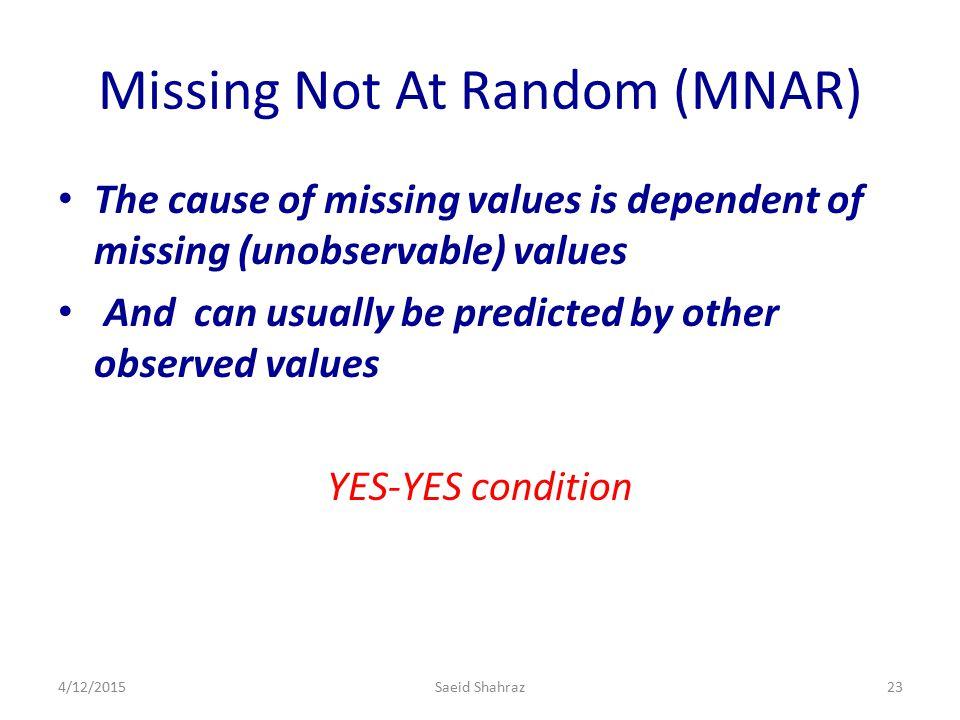 Missing Not At Random (MNAR)