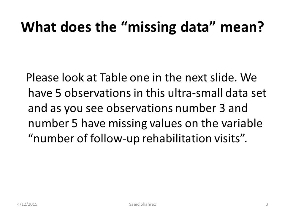 What does the missing data mean