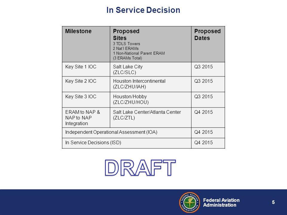 DRAFT In Service Decision Milestone Proposed Sites Dates