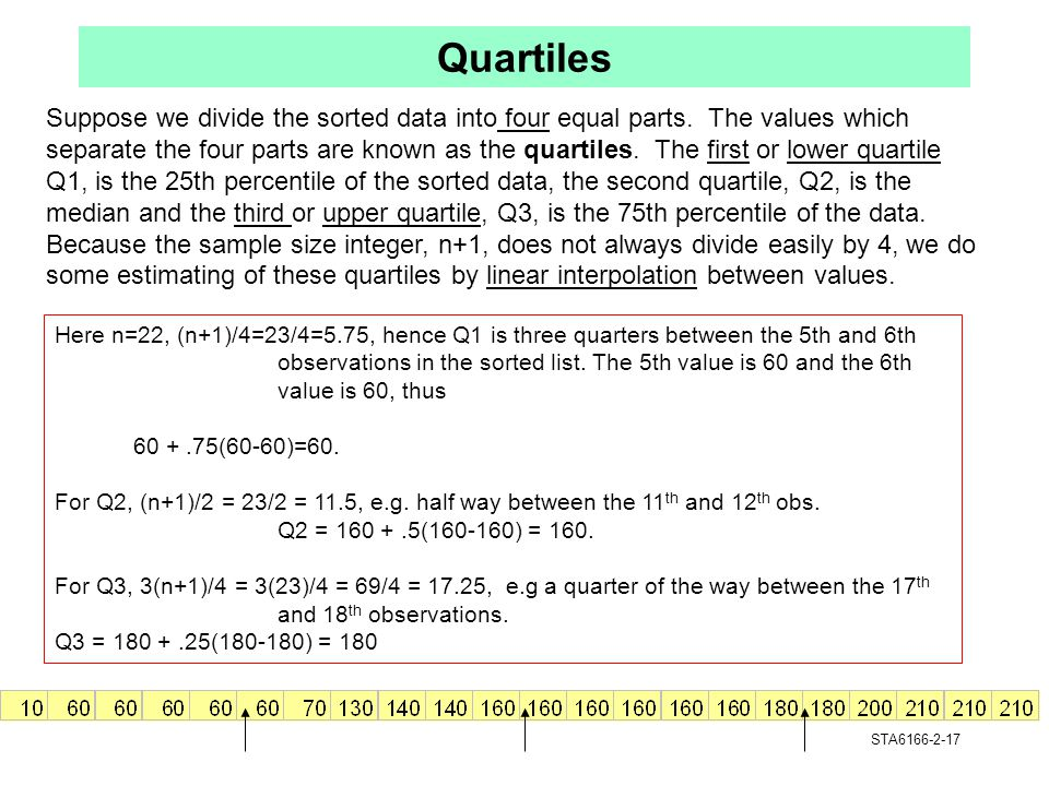 Quartiles Suppose we divide the sorted data into four equal parts. The values which.