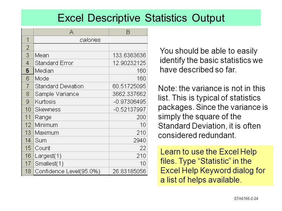 Excel Descriptive Statistics Output